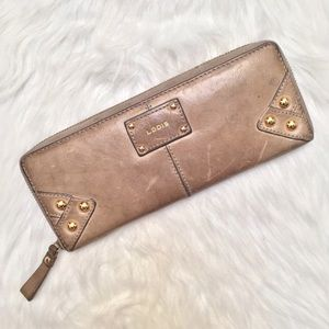 [Lodis] leather gold studded zip-around wallet